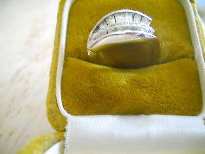Vintage Panetta Sterling Ring Original Box Bright Stones Art Deco Style Signed