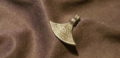 Ultra rare Genuine!! Intact Ancient Viking silver axe head pendant/amulet L36y