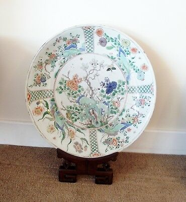 Antique 17thC Chinese Kangxi Famille Verte Porcelain Charger