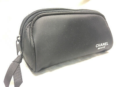 a86044a0ab9f RARE NIP CHANEL Makeup Cosmetic Bag Travel Case Black PU Hard Case ...