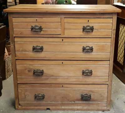 Edwardian Solid Waxed Pine Chest Of Two Over Three Drawers