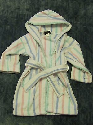 Terry Town Baby/Toddler White Striped Plush Robe One Size (Check Measurements)