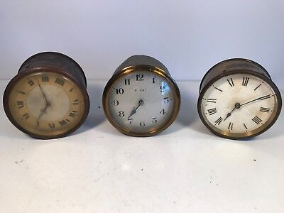 x3 Old Antique French Movement Mantle Clocks - For Parts / Repair