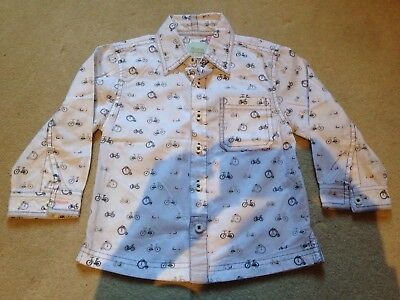 Monsoon Boy's Shirt 18-24 Months Long Sleeves white with bicycles bikes