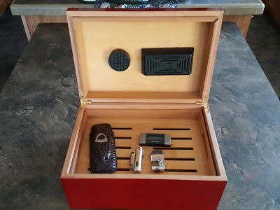 Large Wooden HUMIDOR Cigar Storage Box with 2 lighter, Case with Cutter, Gage