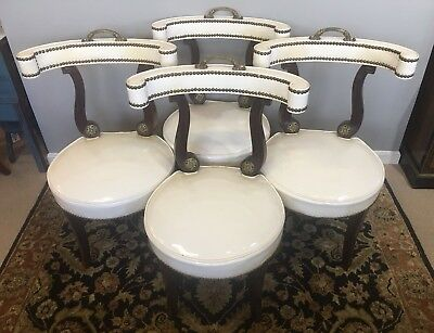 4 Hollywood Regency Klismos Dorothy Draper Style Brass Tack & Handle Chairs