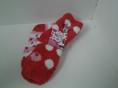 Disney Minnie Mouse 2 Pair Non Skid Slipper Socks Fits Shoe Size 10 to 4 Red Pin