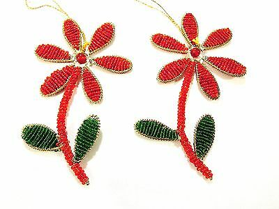 Handmade India Beaded christmas Ornaments  Red and Green Daisy ornament:Set of 2