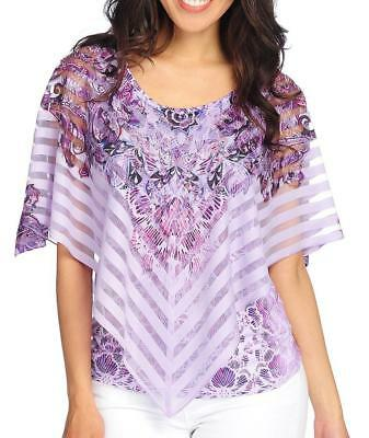 NEW - One World Printed Knit Tank Top w/ Striped Mesh Overlay - LILAC