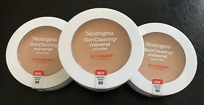 Neutrogena SkinClearing Mineral Powder #60 Natural Beige - Lot of 3