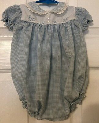 Vintage Feltman Bros Size 0-3M Blue & White/Hand Embroidered Lace Trimmed Romper