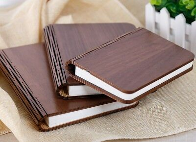 Rechargeable LED Wooden Walnut Folding Book Lamp Desk Table Bedroom