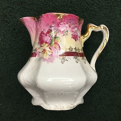 Antique Porcelain Pitcher W/ Handpainted Highlights & Gold Trim Numbered