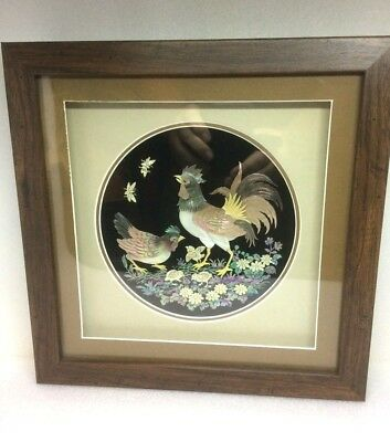 Mother of Pearl 3d effect - diorama, framed picture of hens NEW