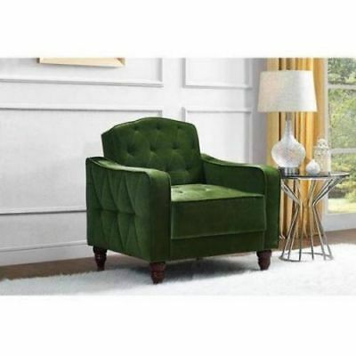 BEDROOM ACCENT CHAIR Living Room Green Tufted Armchair Vintage Green Velour