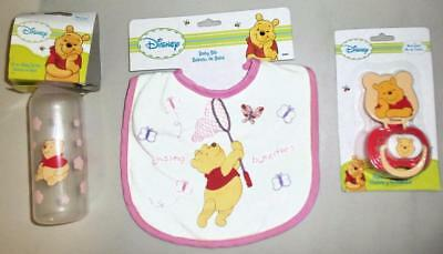 DISNEY BABY WINNIE THE POOH  Lot of 3  Baby Items, Pink  NEW