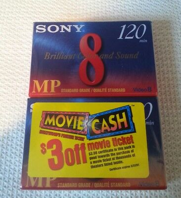 Set of 2 Sony MP Video 8 8mm 120 minute new sealed blank tapes cassettes