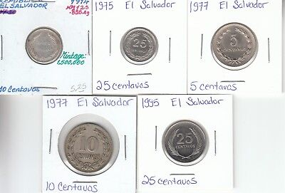 El Salvador: Collection of 5 Different Circulated Coins