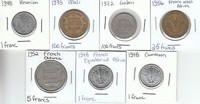 French Colonies: Collection of 7 Different Circulated Coins