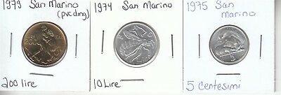 San Marino: Lot of 3 Different Circulated Coins