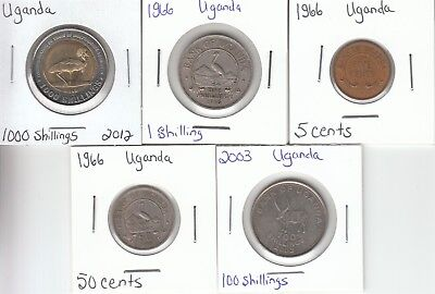 Uganda: Lot of 5 Different Circulated Coins