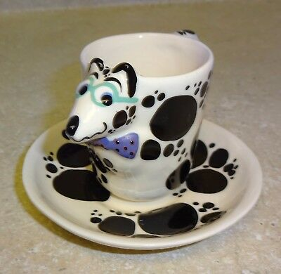 Signed Tom Hatton Smiling Party Dog Cup and Saucer Glasses