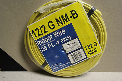 INDOOR COPPER BUILDING WIRE 600V 12/2 25' ft NM-B W/GROUND ROMEX