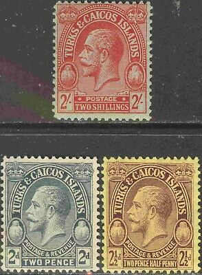 Turks & Caicos Islands #56, 63-4 Group of 3 Mint Hinged George V Definitives
