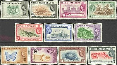 1953-7 British Honduras #144-154 Short Set of 11 Queen Elizabeth II Definitives
