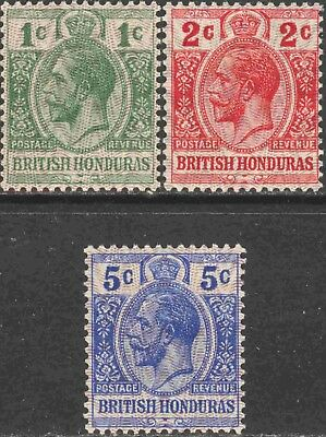 British Honduras #85-7 Complete MH Set of 3 George V Defins. with Moire Ovpt.