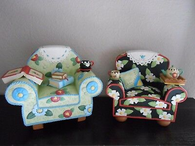Rare! Mary Englebreit Bookends - Overstuffed Chairs - Nice Pre-Owned Condition