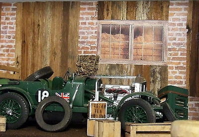 Diorama Old Barn 2D for kit or die cast car 1/24 collectible + 8 prints