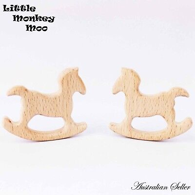 5 x Horse Wooden Teething Ring Natural Organic Beech Wood Teether Baby Untreated