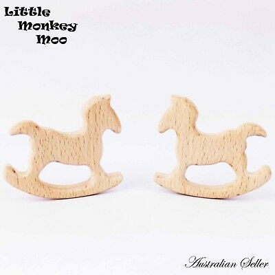 10 Horse Wooden Teething Ring Natural Organic Beech Wood Teether Baby Untreated