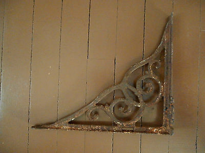 Vintage Decorative Cast Iron Shelf Bracket Ornate Curve Design Primitive Rustic