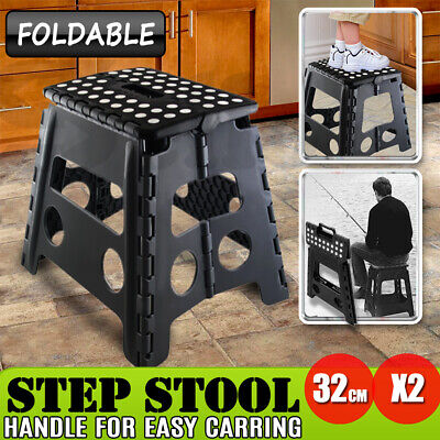 2x Folding Step Stool Portable Plastic Foldable Chair Store Flat Outdoor Black