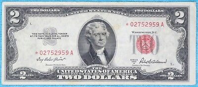 1953-A $2 Star Fr#1510* Two Dollar Bill Red Seal US Note Lot #14