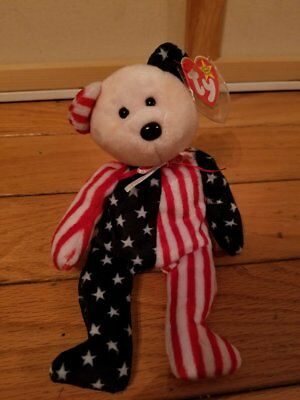 """TY Beanie Baby """"Spangle"""" Bear Retired 1999 (Pink Face)"""