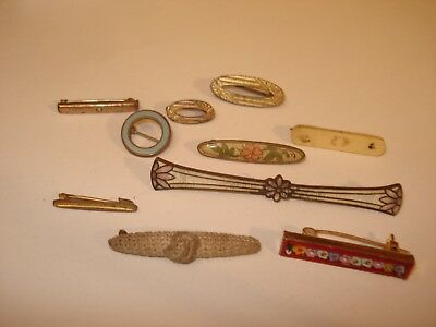 Lot Of Antique Vintage Victorian Bar Pins Lingerie Clips  Brooch GF