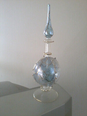 New Delicate Glass Perfume Bottle 20cm - Blue /clear /gold