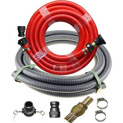 "Fire Fighting 20m x 1 inch Hose + Suction 1.5"" Hose Kit Fire Rated Water Pump"