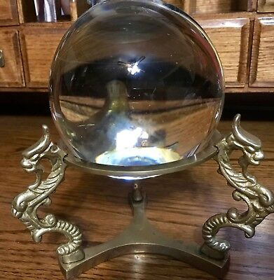 Vintage Glass / Crystal Ball With Brass Stand