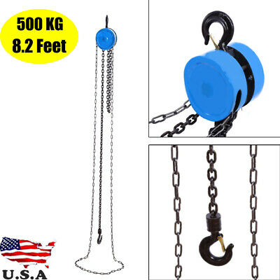 500kg Pulley Chain Block Chain Hoist Cable Hand Control Pulley Crane 2.5m
