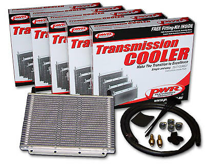 """PWR V8 TRANSMISSION OIL COOLER KIT 280x200x19mm 3/8"""" Barbs 23-Rows PWO5388"""