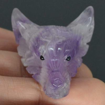 Howling Wolf Statue Amethyst Animal Pendant Hand Carved Stone Necklace Jewelry