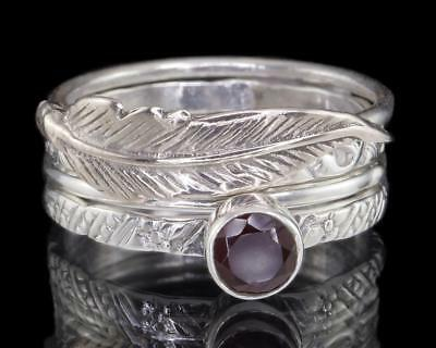 Garnet & Feather 925 Sterling Silver STACKING RING SET Stackable Rings Size US 8