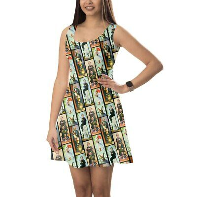 Haunted Mansion Stretch Paintings Sleeveless Dress Flared Short