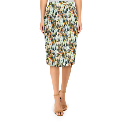 Haunted Mansion Stretch Paintings Midi Pencil Skirt