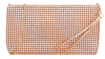New Vintage Womens Clutch Bag Chainmail Zipped Rose Gold Evening Party Wedding