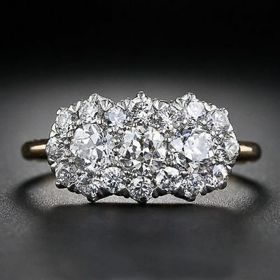 2.26 Ct Diamond Women/'s 3-Stone Cluster Engagement Ring 14k Yellow Gold Over